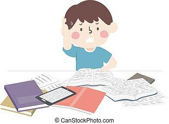 illustration, garçon, étude, fourrer, livres, gosse