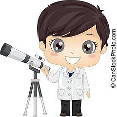 illustration, garçon, gosse, astronome