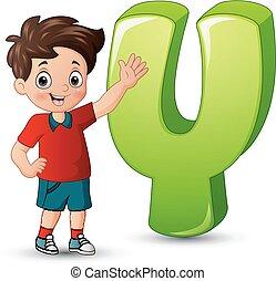illustration, garçon, poser, à côté de, lettre