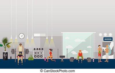 illustration., gens, gymnase, travail, centre, banners., vecteur, fitness, intérieur, horizontal, dehors
