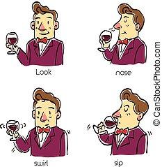 illustration., goûter, quatre, vecteur, étapes, méthode, vin, dessin animé, homme
