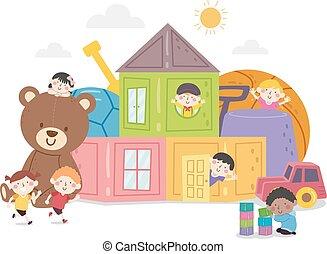 illustration, gosses, amusement, jouets, maison
