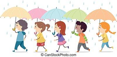 illustration, gosses, stickman, pluie, parapluie