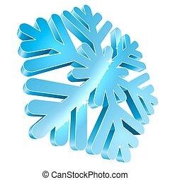 illustration., grand, isolé, vecteur, fond, snowflake blanc, 3d