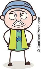 illustration, grand-père, vecteur, face souriant, dessin animé