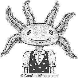 illustration, gravure, axolotl