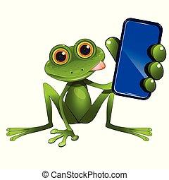 illustration, grenouille, séance, vert, smartphone