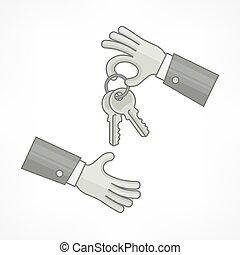 illustration., hands., vecteur, clés