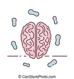 illustration., health., vecteur, brain., mental, humain