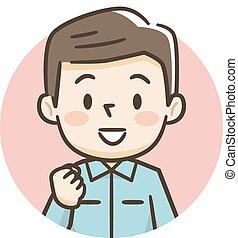 illustration, homme, jeune, sourire
