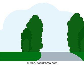 illustration, horizon, étirage, arbres, herbe verte, route