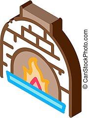 illustration, icône, vecteur, brulure, flamme, isométrique, four