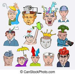 illustration., icônes, gens, créatif, vecteur, conception, caractères, concepts