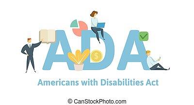 illustration., incapacités, arrière-plan., vecteur, keywords, ada, lettres, américains, isolé, blanc, plat, concept, act., icons.