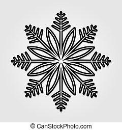 illustration., isolé, arrière-plan., vecteur, snowflake blanc, icône