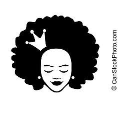 illustration, isolé, blanc, fille femme, dame, silhouette, dessin, américain, cheveux, couronne, background.queen.princess, bouclé, vecteur, figure, child.black, beau, tête, africaine
