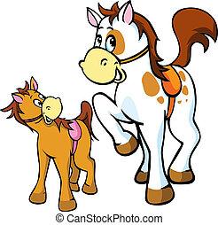 illustration, isolé, chevaux