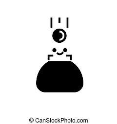 illustration, isolé, signe, portefeuille, vecteur, arrière-plan noir, icône