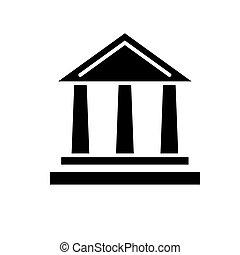 illustration, isolé, signe, vecteur, arrière-plan noir, icône, banque