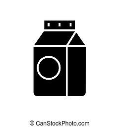 illustration, isolé, signe, vecteur, arrière-plan noir, icône, lait