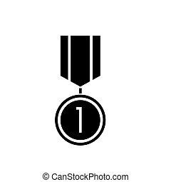 illustration, isolé, signe, vecteur, arrière-plan noir, icône, médaille