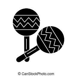 illustration, isolé, signe, vecteur, arrière-plan noir, maracas, icône