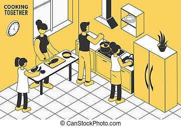 illustration, isométrique, cuisine famille