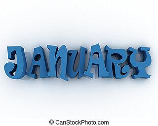 illustration., janvier, colour., signe, papier, 3d