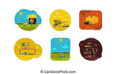 illustration, jardinage, ensemble, outils, passe-temps, légumes