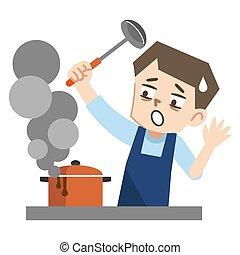 illustration, jeune homme, cuisinier, manqué