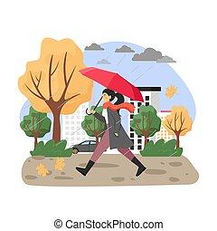 illustration., jeune, sous, parapluie, girl, season., marche, vecteur, plat, pluie, automne