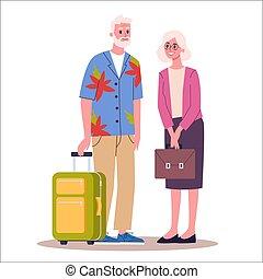 illustration, laggage, handbag., vecteur, touriste