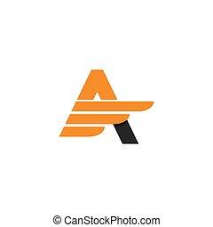 illustration, lettre, logo, ailes