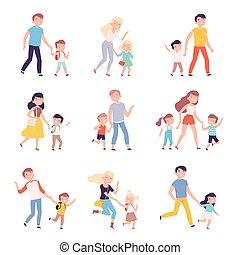 illustration, leur, école, mains ensemble, jardin enfants, parents, gosses, tenue, accompagner, style, vecteur, enfants, ou, marche, ensemble, dessin animé