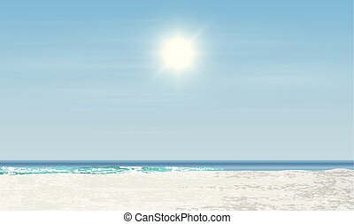 illustration, levers de soleil, réaliste, vecteur, coucher soleil, /, plage, paysage
