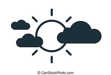 illustration, ligne, partiellement, soleil, ensoleillé, blanc, linéaire, temps, style, noir, icône, isolé, simple, fond, vecteur, incandescent, couvert, forecast., art plat, clouds.