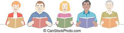 illustration, livres, aînés, lecture