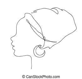 illustration, logo, africaine, icon., national, silhouette, contour, joli, coiffure, girl., figure, femme