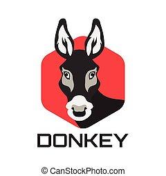 illustration, logo, arrière-plan., isolé, âne, blanc, vecteur