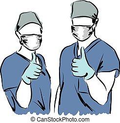 illustration médicale, personnel