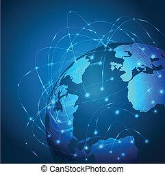 illustration, maille, réseau, vecteur, mondiale, technologie