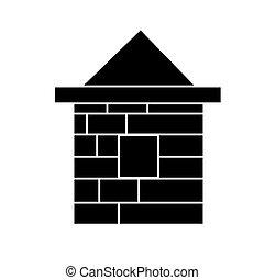 illustration, maison, isolé, signe, vecteur, arrière-plan noir, icône, brique