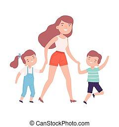illustration, maman, école, mains ensemble, jardin enfants, parent, elle, fille, tenue, accompagner, style, vecteur, fils, ou, marche, gosses, dessin animé