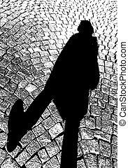 illustration, marche, jour, citoyen, ombre, ensoleillé, vecteur, pavé, trottoir