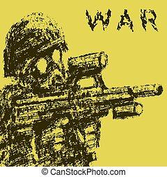 illustration., masque, essence, soldat, assaut, vecteur, viser, rifle.
