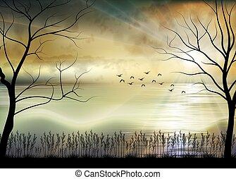 illustration, matin, plage, levers de soleil