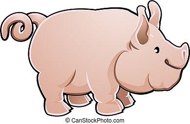 illustration, mignon, vecteur, ferme, cochon, animal