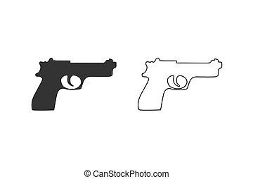 illustration, militaire, fusil, set., logo, arme, vector., équipement, ligne, icône