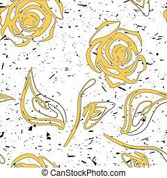 illustration., modèle, seamless, roses jaunes, vecteur