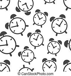 illustration., modèle, symbole, business, vecteur, horloge, signe, icon., temps, fond, plat, seamless, reveil, pattern.